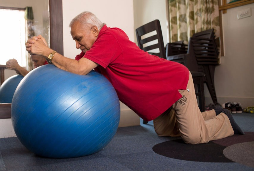 Active Ageing member doing an exercise to stay fit